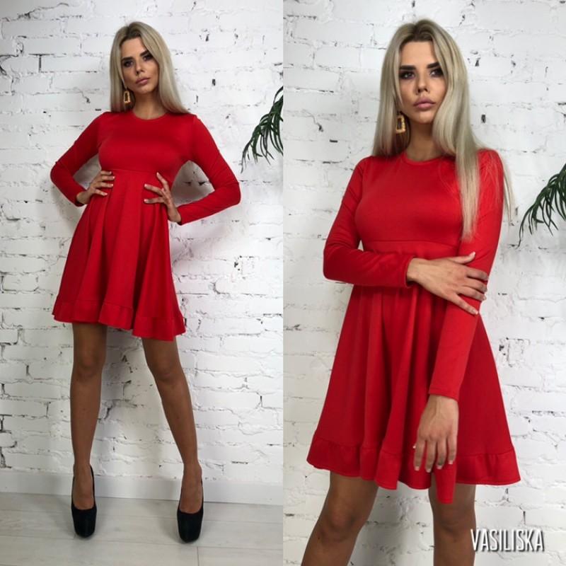 Платье трапеция отрезное по талии юбка клеш красный