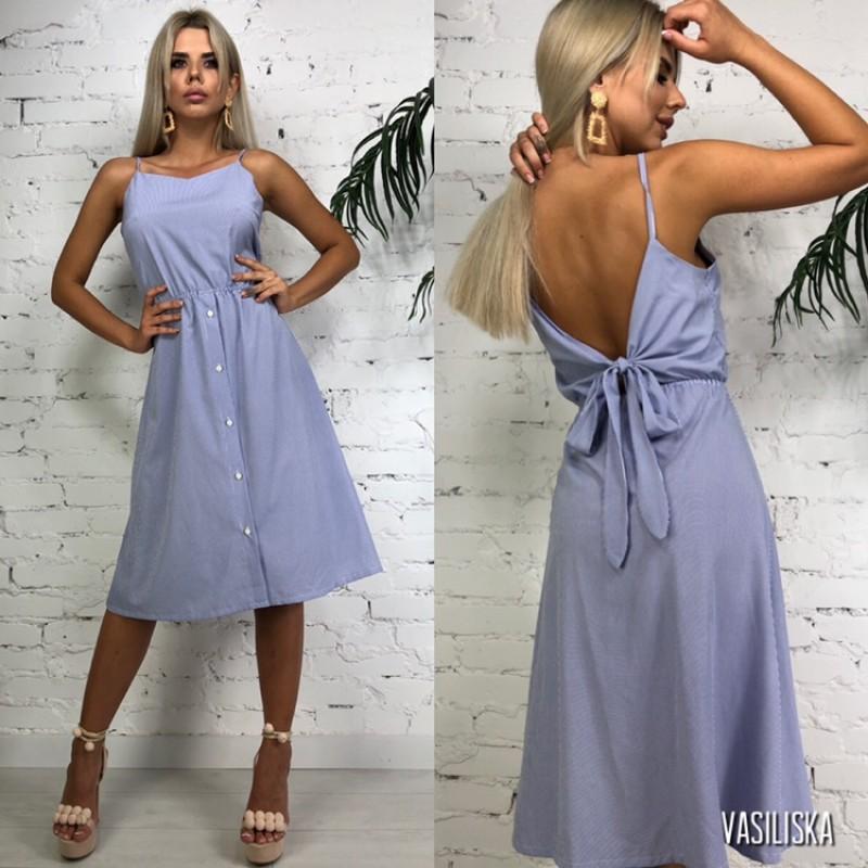 Платье на бретелях на спине бант сиреневый