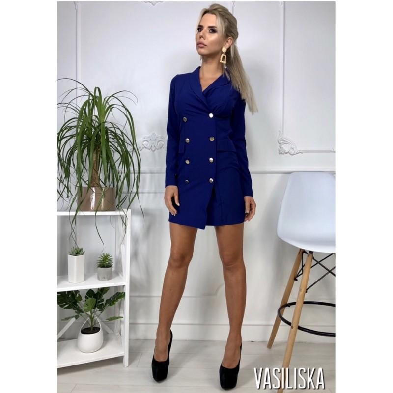 Платье-пиджак по фигуре длинный рукав на пуговицах электрик