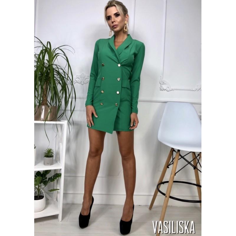 Платье-пиджак по фигуре длинный рукав на пуговицах изумрудный