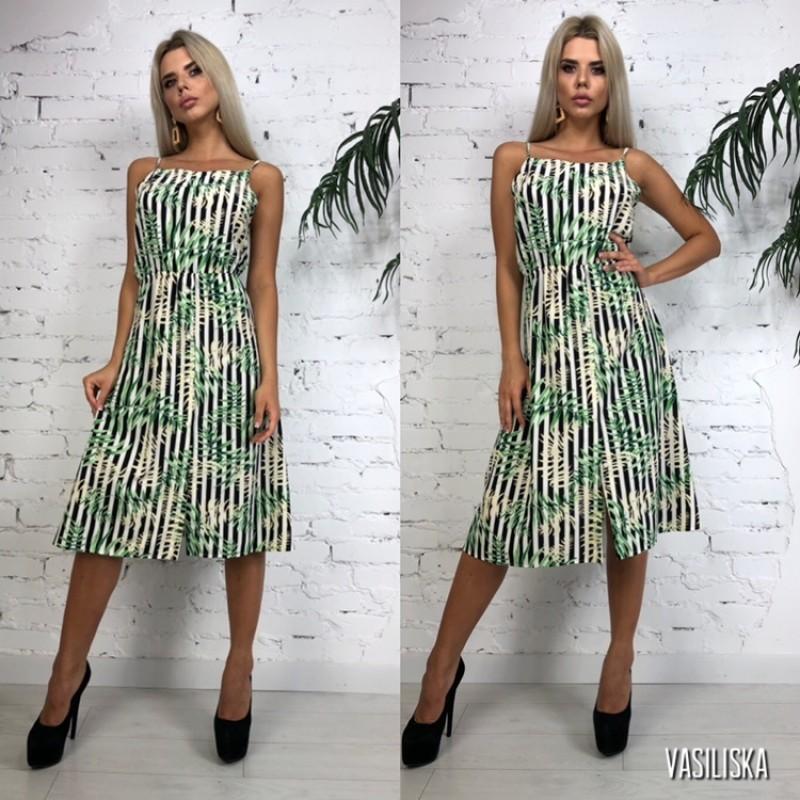 Платье на бретелях на спине бант черно-белая полоска принт листья пальмы