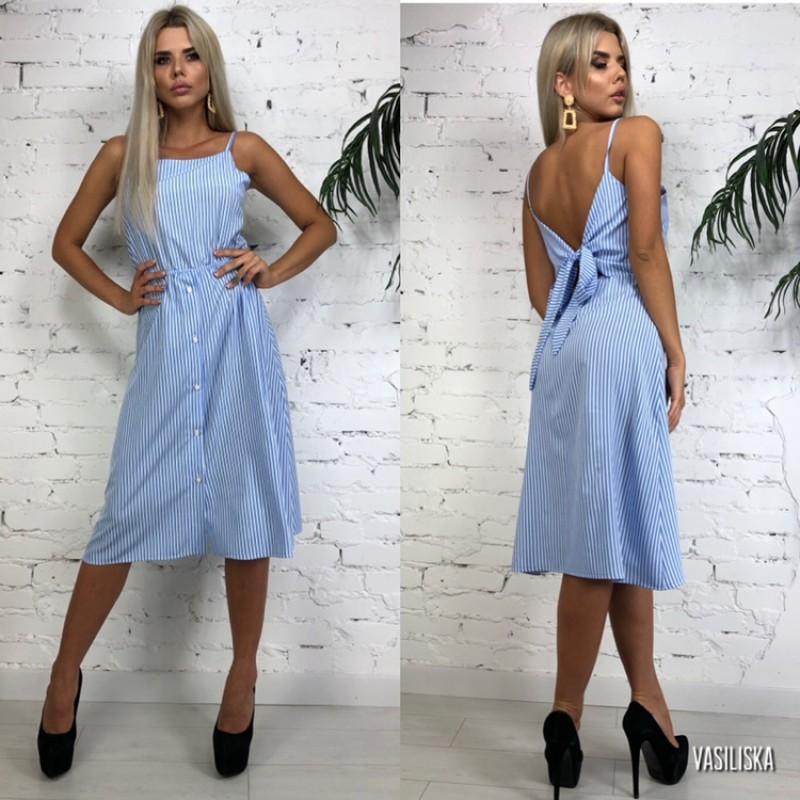 Платье на бретелях на спине бант в бело-голубую полоску