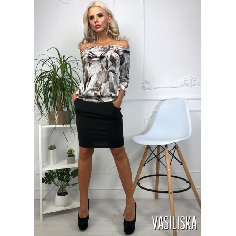 Комплект короткая юбка с карманами + кофта велюр цветы открытые плечи