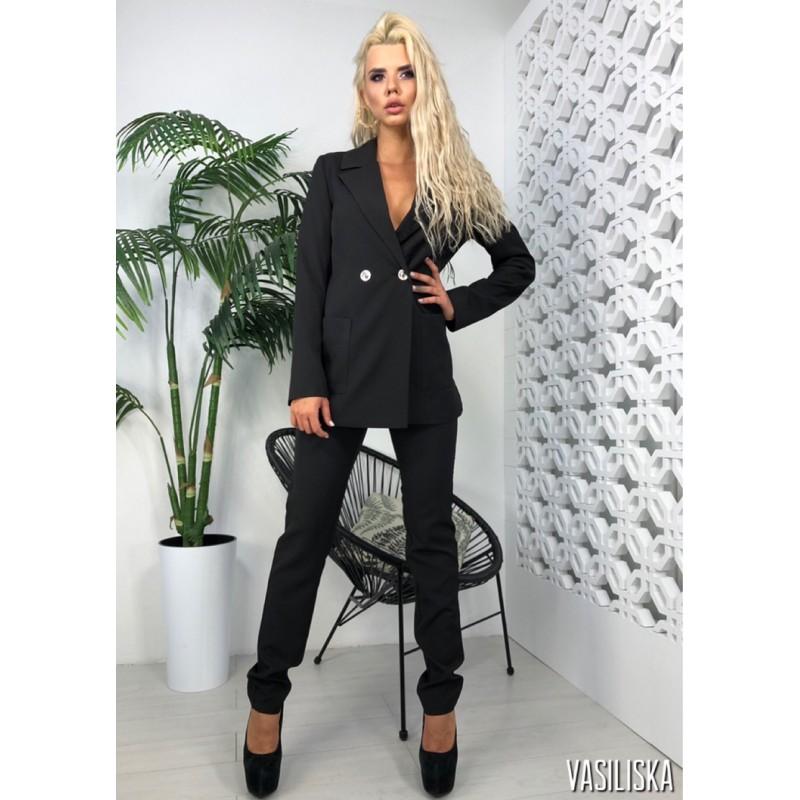 Костюм брючный удлиненный пиджак с накладными карманами черный
