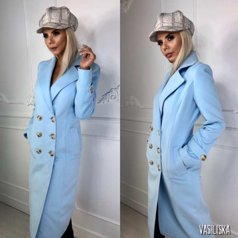 Пальто двубортное, 6 пуговиц голубой