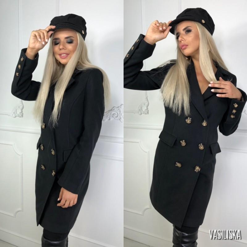 Пальто двубортное с карманами-клапанами, 6 пуговиц черный