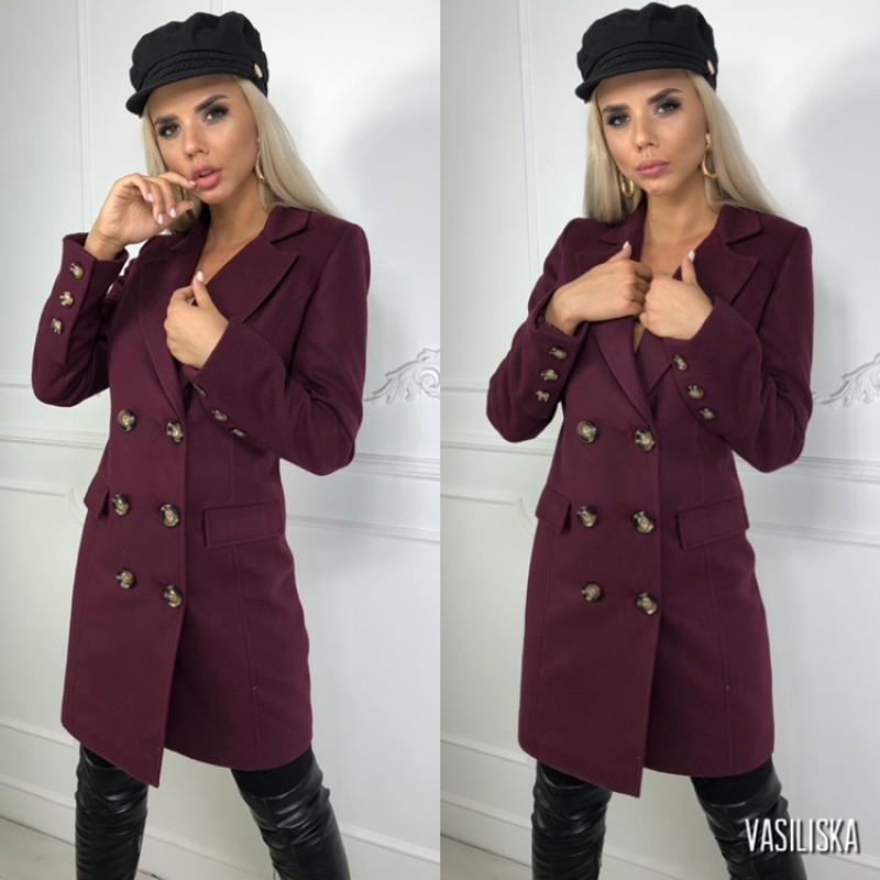 Пальто двубортное с карманами-клапанами, 6 пуговиц слива