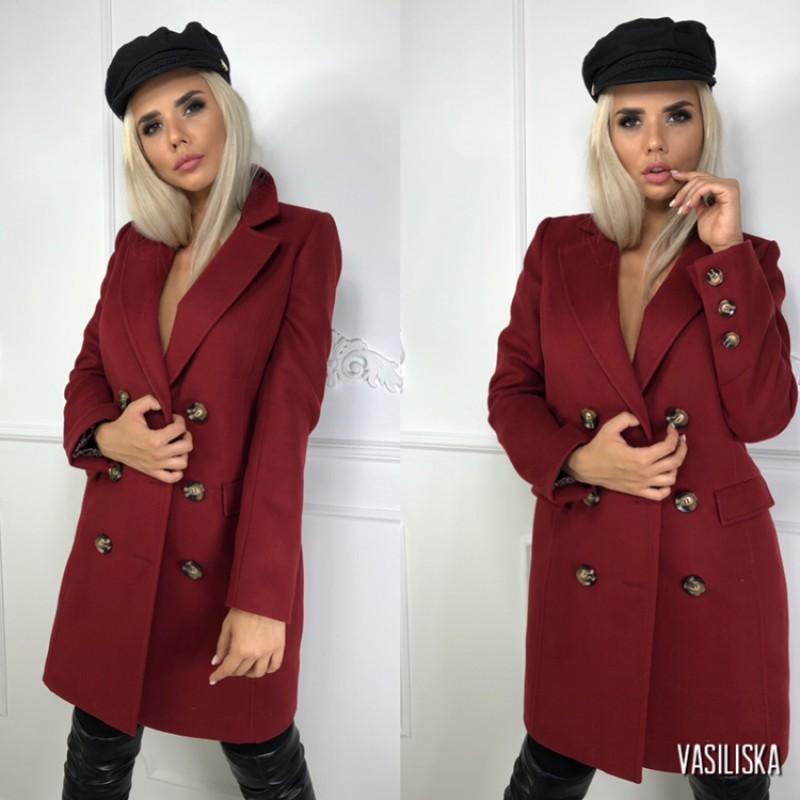 Пальто двубортное с карманами-клапанами, 6 пуговиц марсала