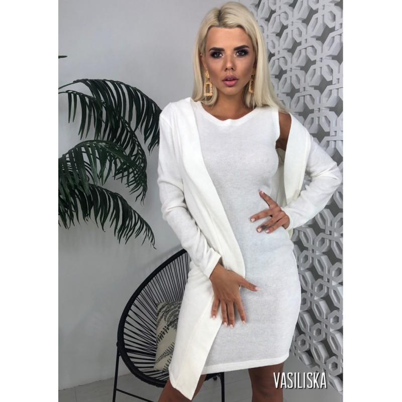 Комплект платье с кардиганом из ангоры белый