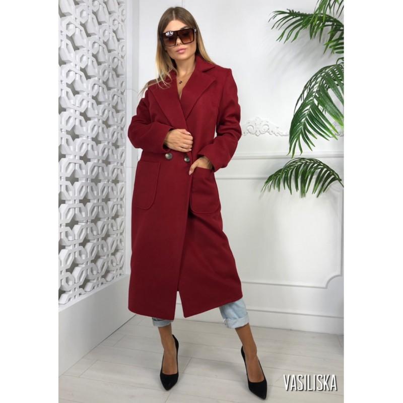 Пальто длинное прямое на двух пуговицах, с накладными карманами марсала