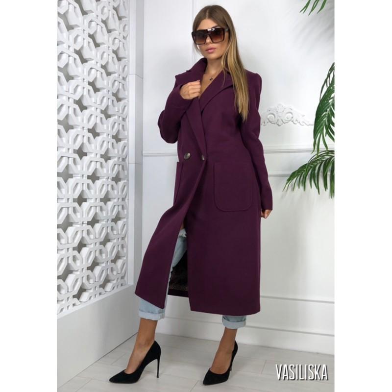Пальто длинное прямое на двух пуговицах, с накладными карманами слива