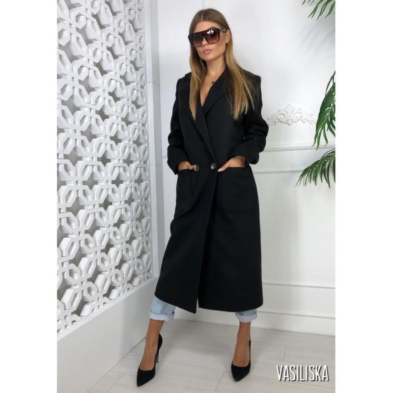 Пальто длинное прямое на двух пуговицах, с накладными карманами черный