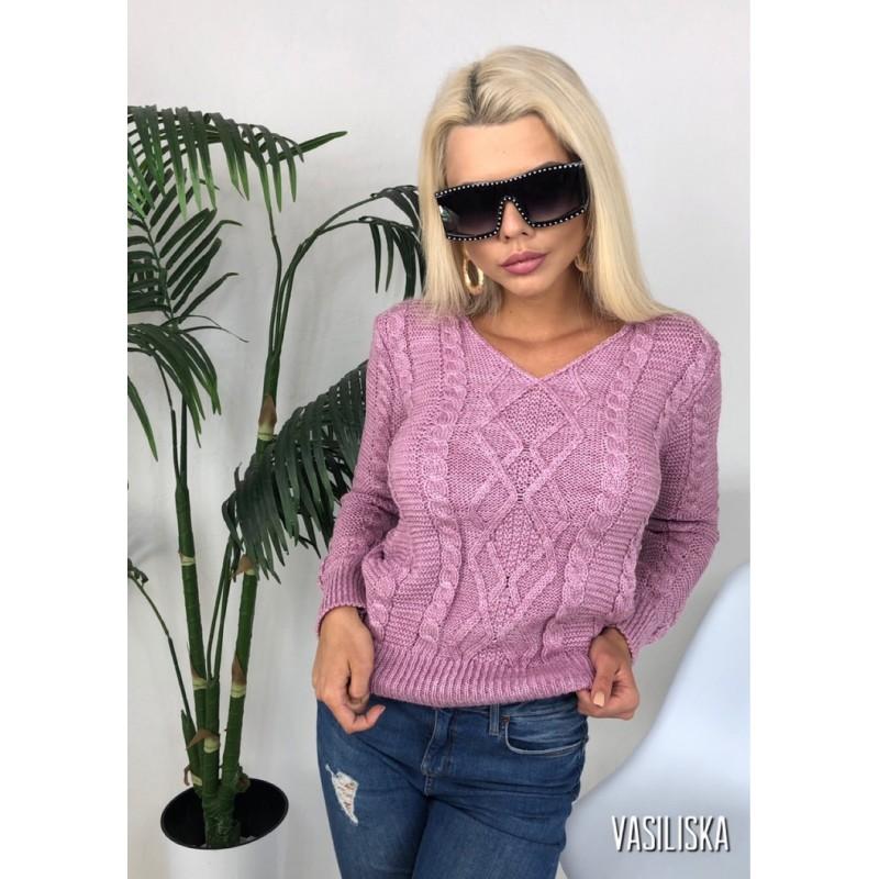 Вязаный свитер с V-образным вырезом рукава, перед и сзади узорная вязка розовый