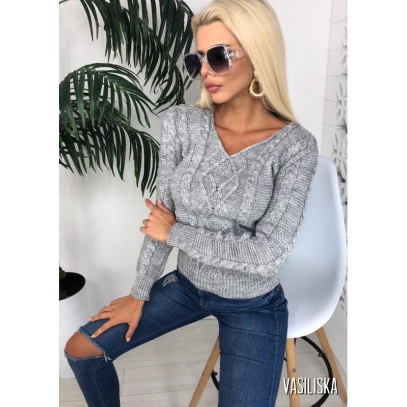Вязаный свитер с V-образным вырезом рукава, перед и сзади узорная вязка серый