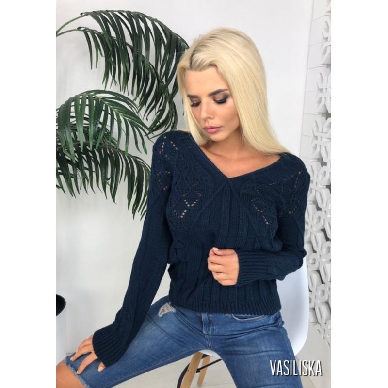 Вязаный свитер прямого кроя узор ажурная вязка как болеро неви
