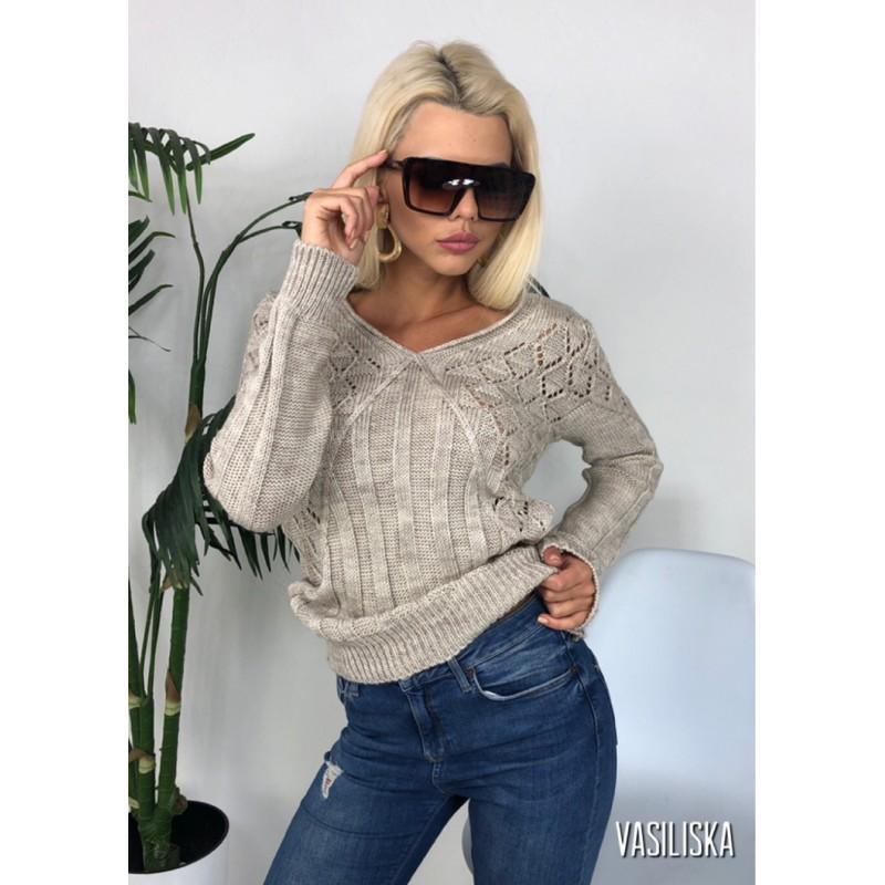 Вязаный свитер прямого кроя узор ажурная вязка как болеро беж