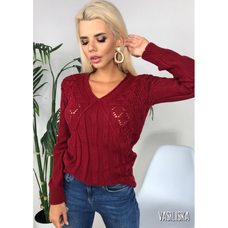 Вязаный свитер прямого кроя узор ажурная вязка как болеро марсала