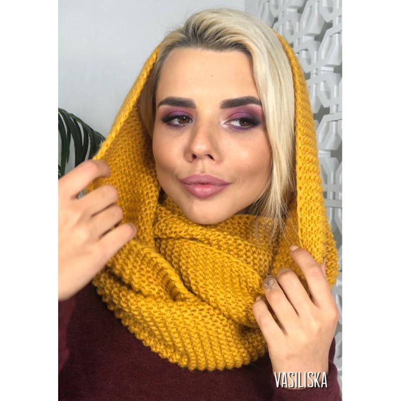 Шарф-хомут Соты горчичный