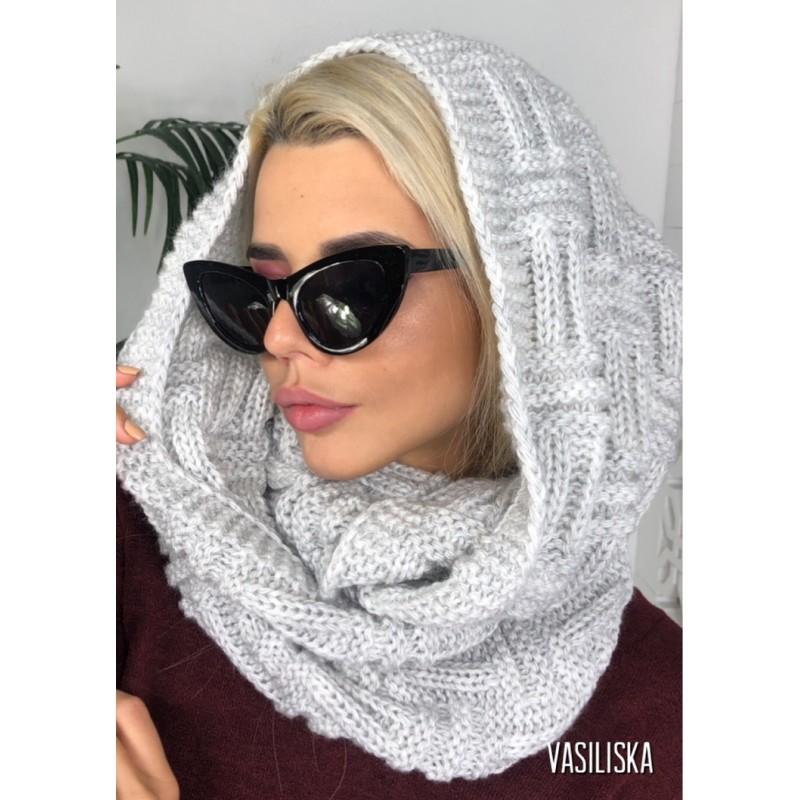 Шарф-хомут Ёлочка серый
