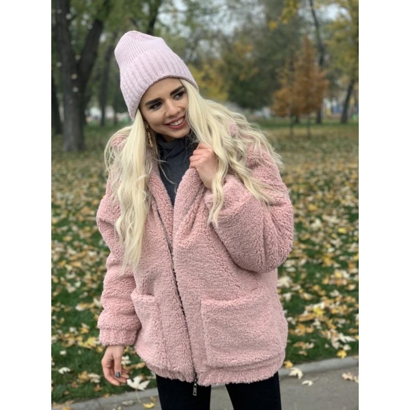 Шуба Тедди с накладными карманами розовый