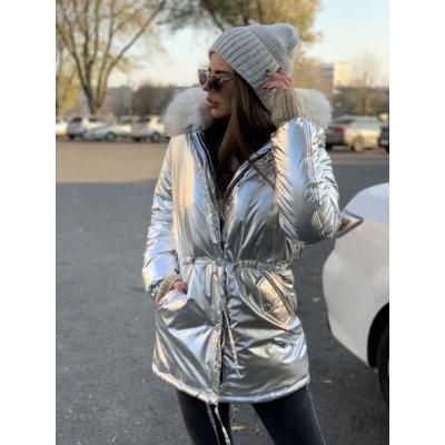 Парка с капюшоном и карманами плащевка серебро