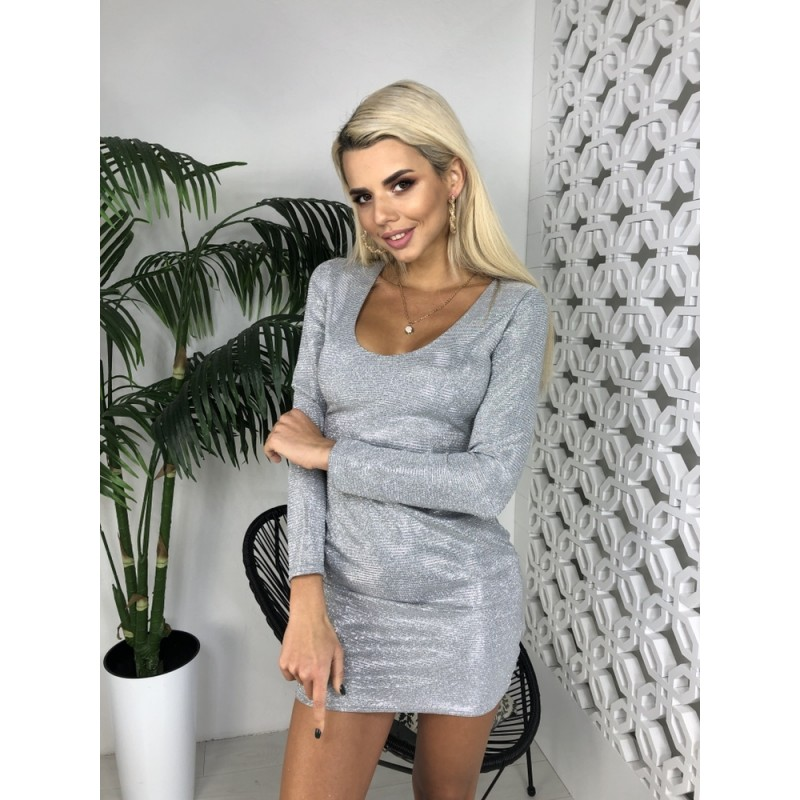 Платье по фигуре с декольте длинный рукав люрекс хамелеон серебро
