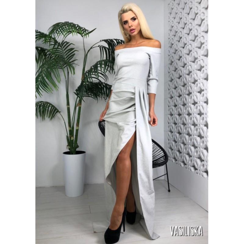 Платье с разрезом открытые плечи рукава 3/4 люрекс серый