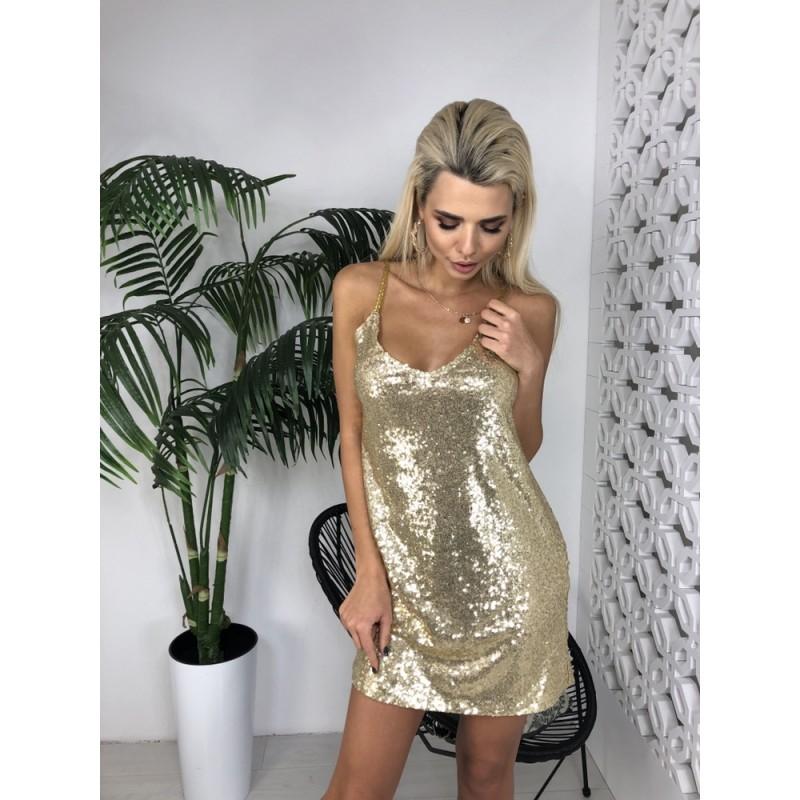 Платье мини на бретельках из пайеток золото