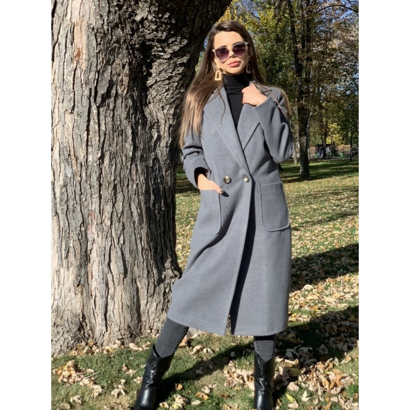 Пальто длинное прямое на двух пуговицах, с накладными карманами графит