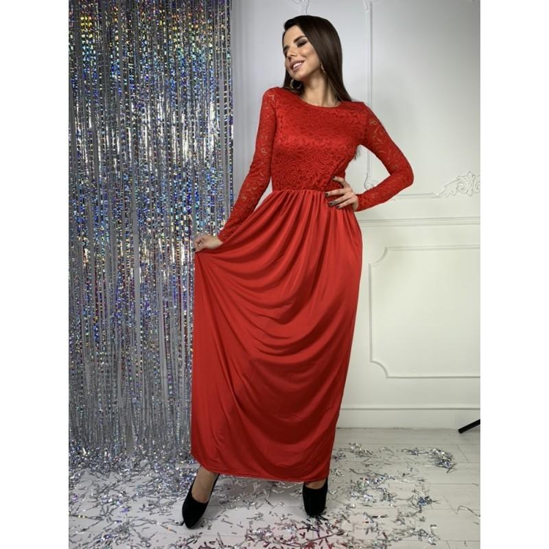 Платье в пол рукав длинный верх гипюр/юбка кристалл красный