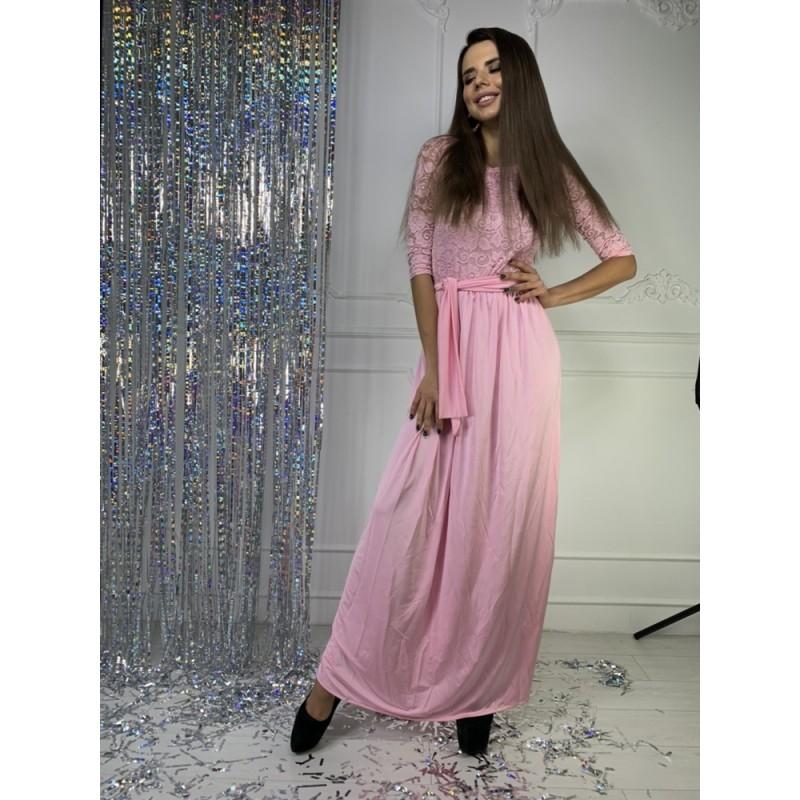 Платье в пол рукав до локтя верх гипюр/юбка кристалл розовый