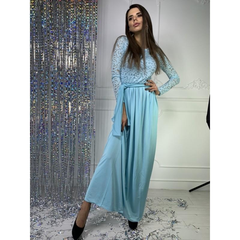Платье в пол рукав длинный верх гипюр/юбка кристалл голубой