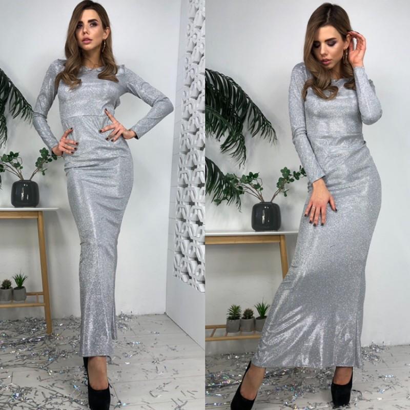 Платье в пол открытая спина длинный рукав люрекс-хамелеон серебро