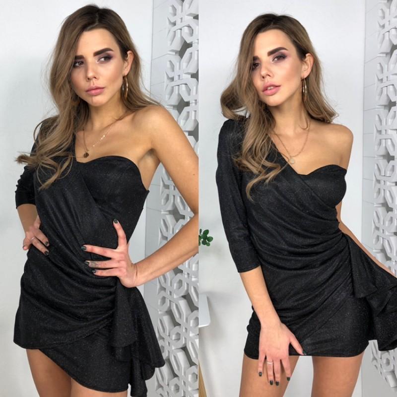 Платье мини на одно плече с драпировкой сбоку люрекс-хамелеон черный