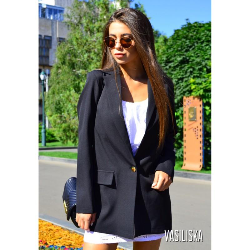 Пиджак летний костюмка черный