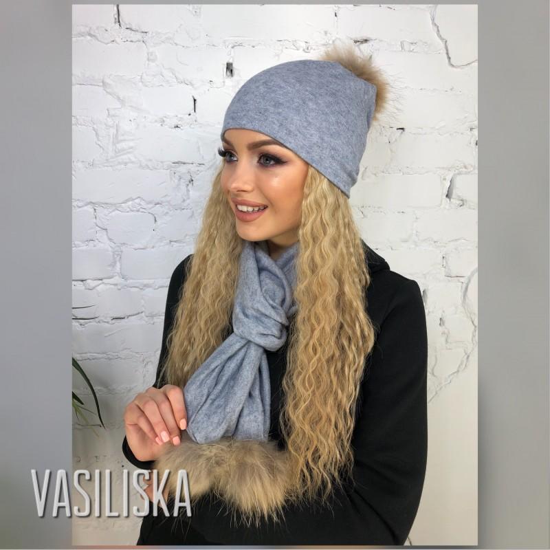 Комплект шапка+шарф с бубоном натуральный мех серо-голубой
