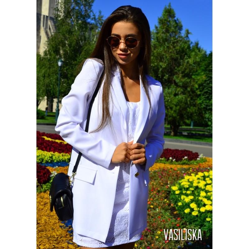 Пиджак летний костюмка белый