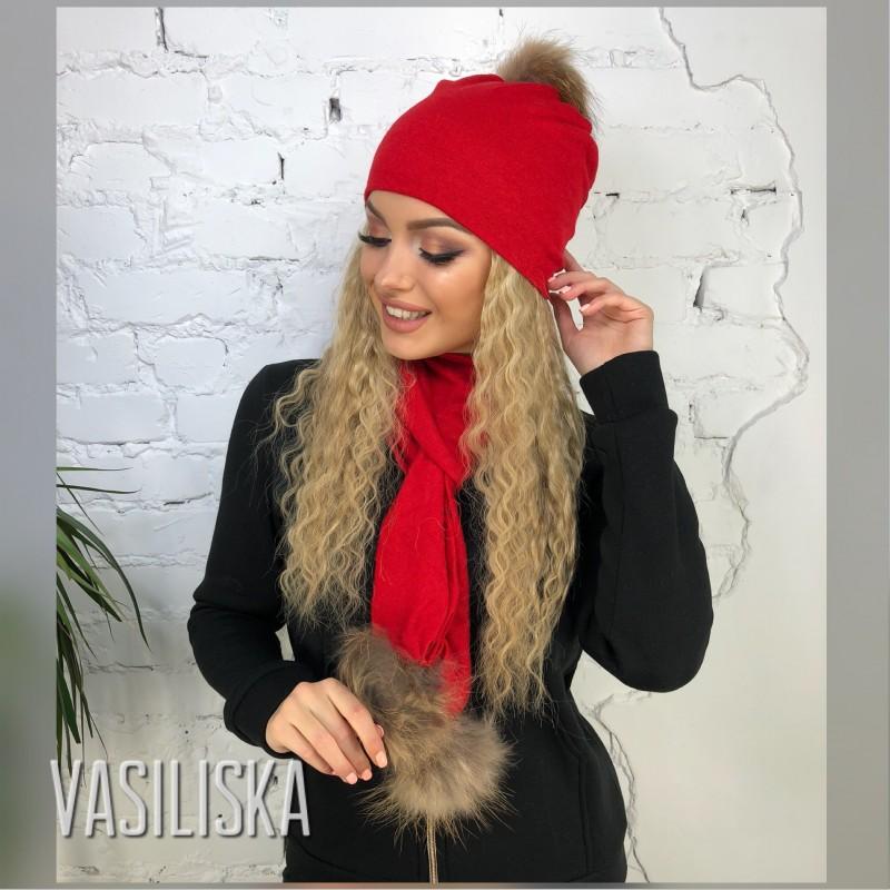 Комплект шапка+шарф с бубоном натуральный мех красный