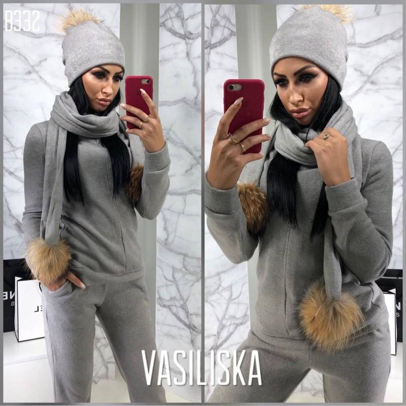 Комплект шапка+шарф с бубоном натуральный мех серый