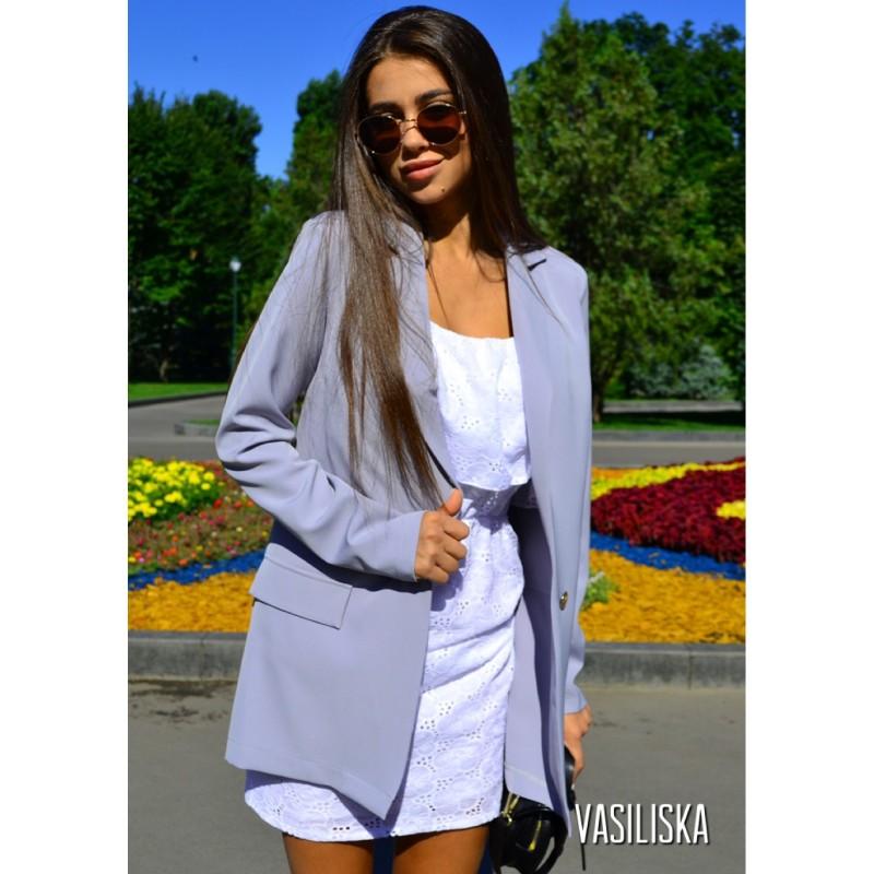 Пиджак летний костюмка серый