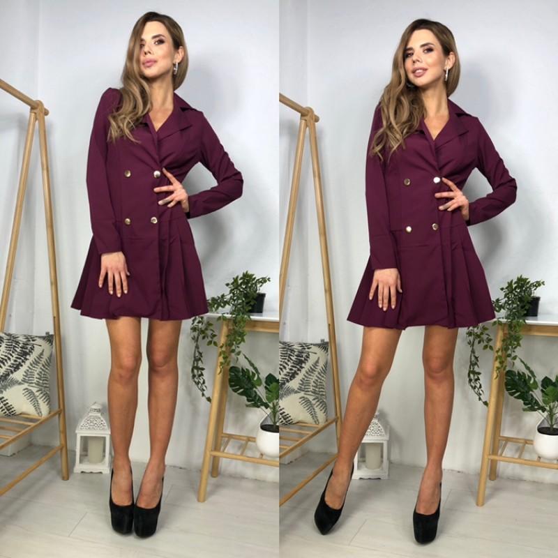 Платье на запах на пуговицах юбка в складку сливовый