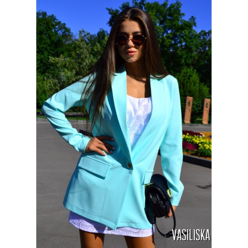 Пиджак летний костюмка мята