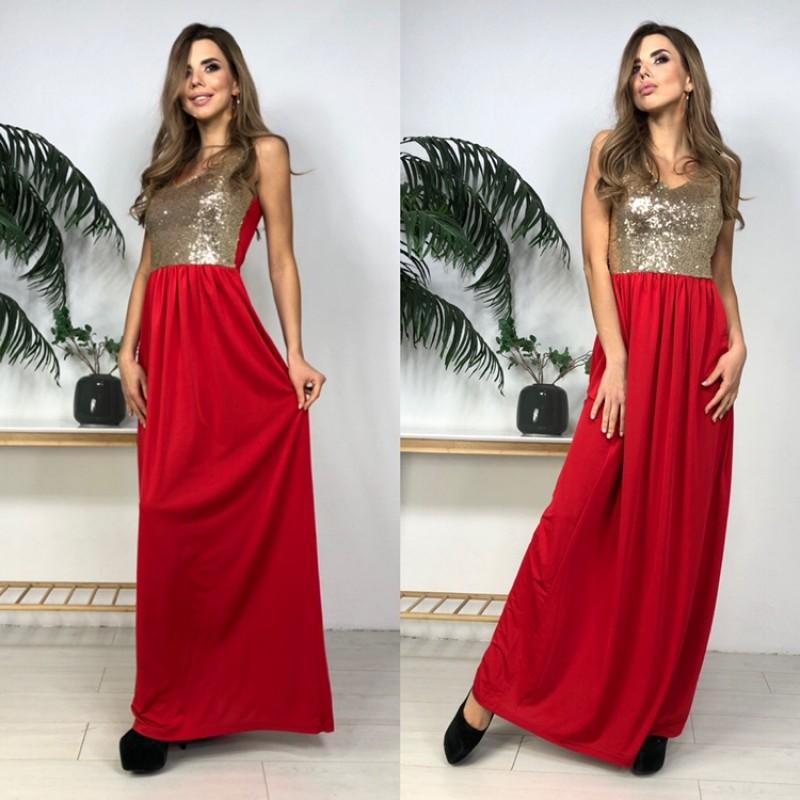 Вечернее красное платье с пайетками золото