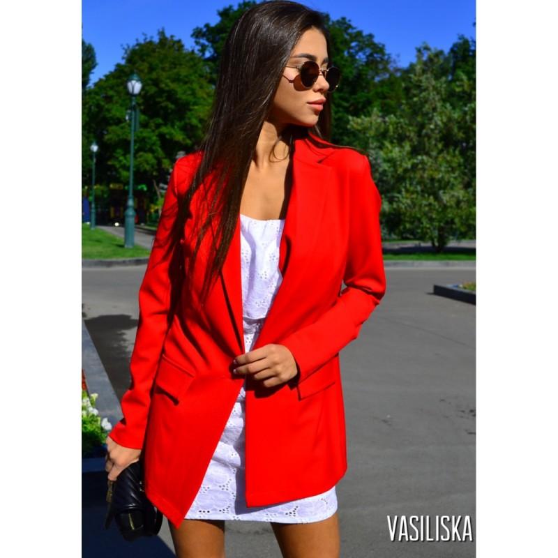 Пиджак летний костюмка красный