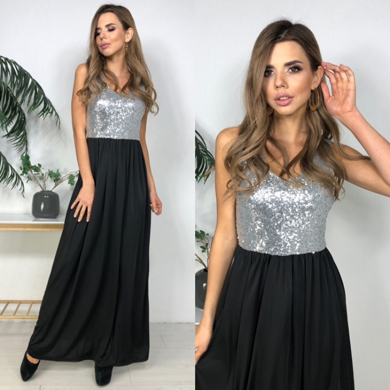 Вечернее черное платье с пайетками серебро