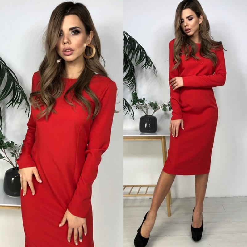 Платье миди прямое с открытой спиной костюмка красный
