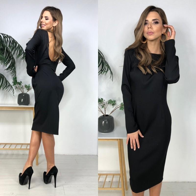 Платье миди прямое с открытой спиной костюмка черный