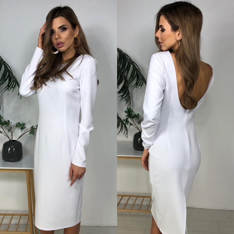 Платье миди прямое с открытой спиной костюмка белый