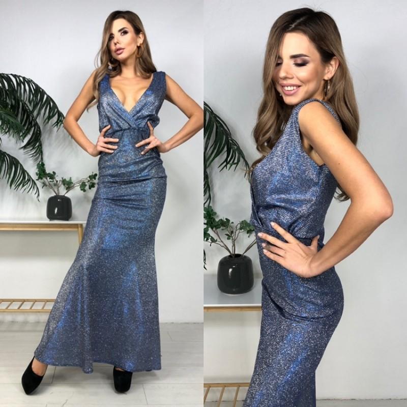 Платье в пол открытая спина декольте на запах люрекс-хамелеон джинс