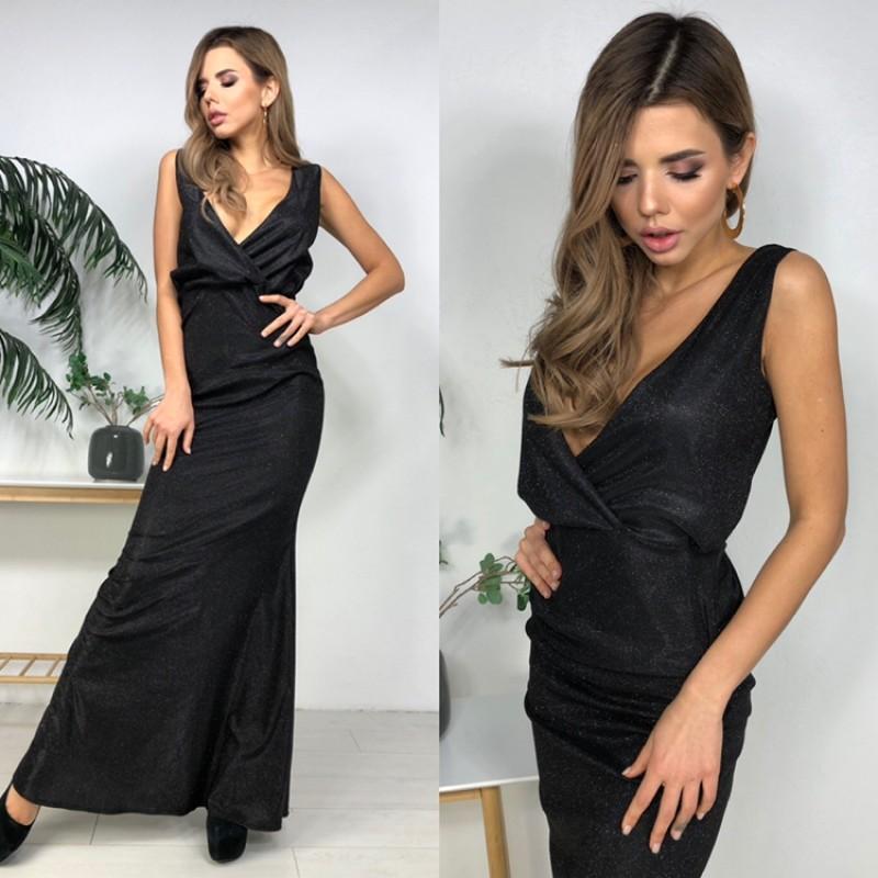 Платье в пол открытая спина декольте на запах люрекс-хамелеон черный